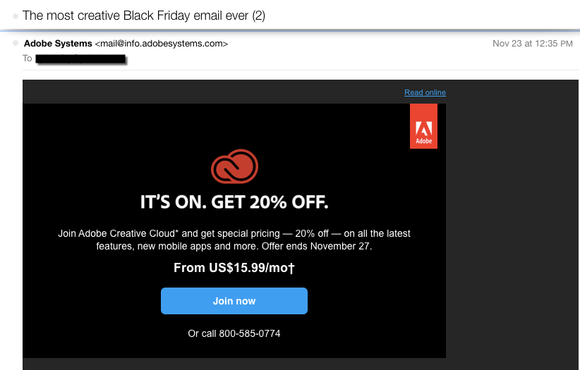 Adobe Systems Black Friday Email Campaign 2015