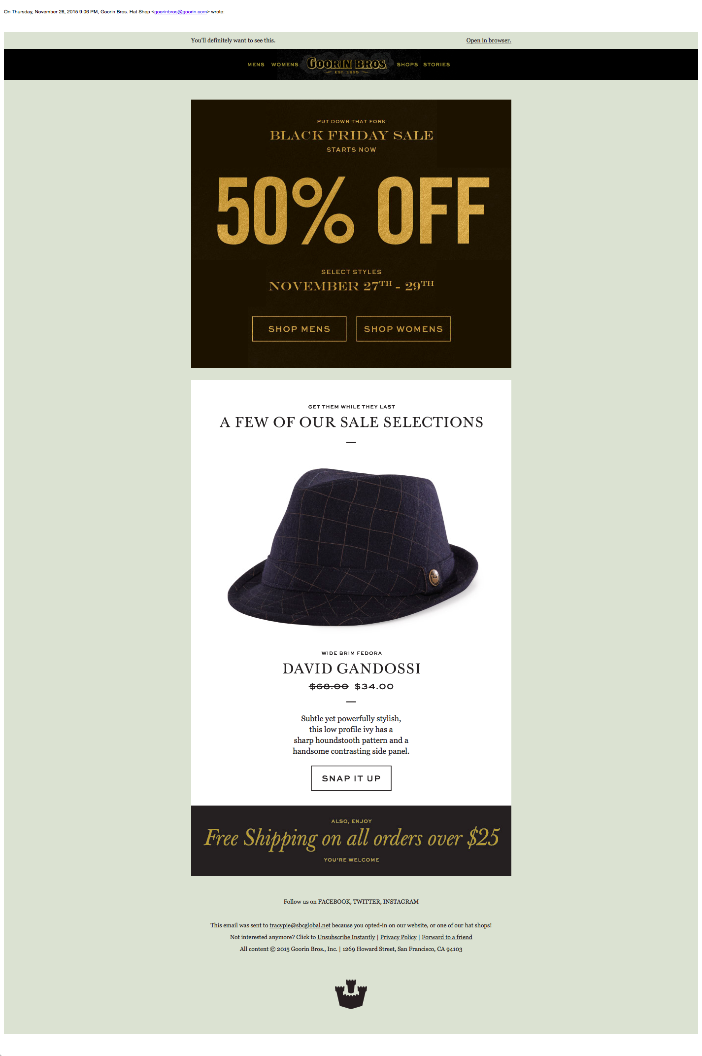 Goorin Bros Black Friday Email Campaign 2015