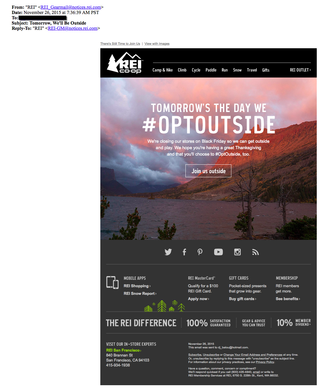 REI OptOutside Black Friday Email Campaign 2015