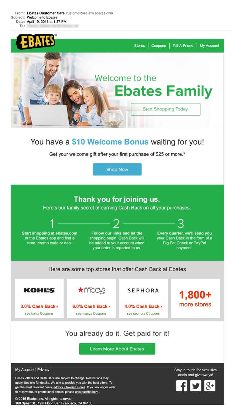 Onboarding Email: Ebates Incentive