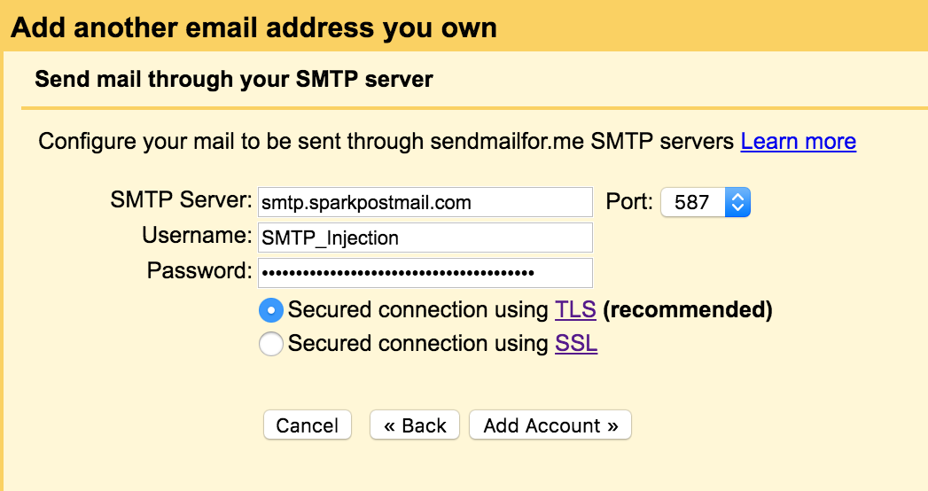 enter your username and port smtp relay how to