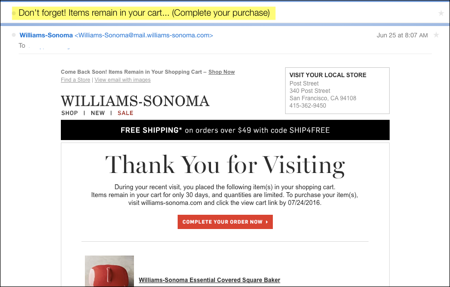 Retail Digital Strategy Abandoned Cart Triggered Email Example
