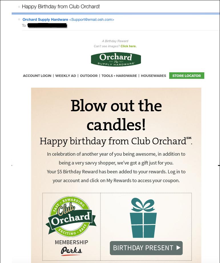 Retail Digital Strategy Birthday Triggered Example
