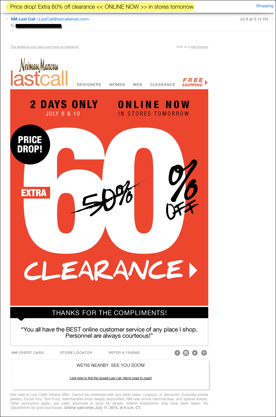 Retail Digital Strategy Price Drop Triggered Email Example