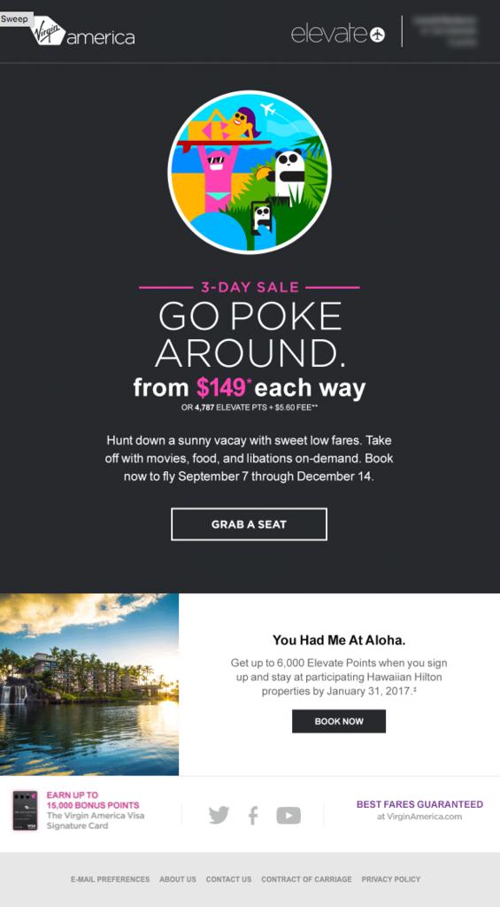 """pokemon go """"go poke around"""" virgin america email"""