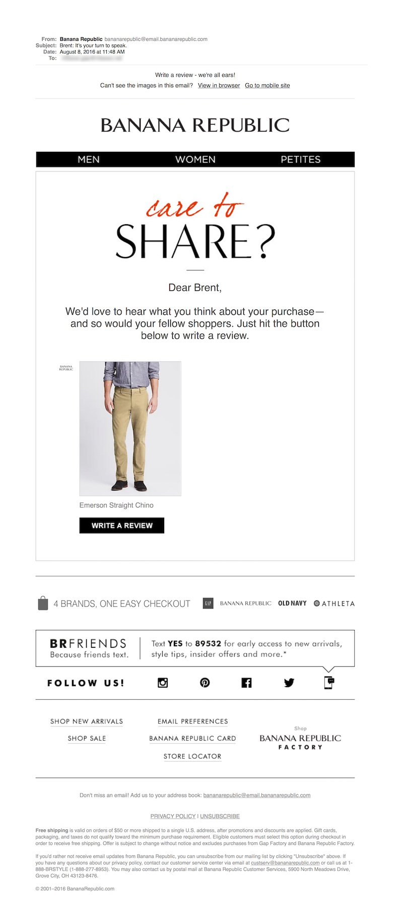 Triggered Email Secrets #5: Feedback by Banana Republic