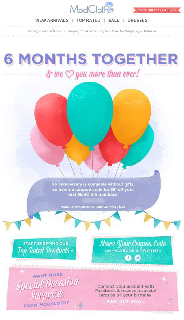 Triggered Email Secrets #6: First Date Anniversary by ModCloth