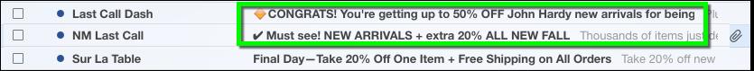 Neiman Marcus email emojis