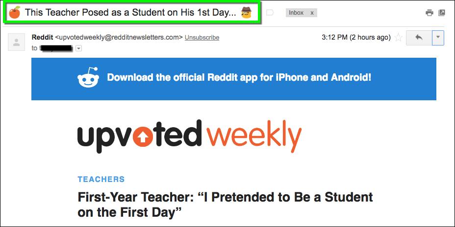 Reddit uses emojis in email