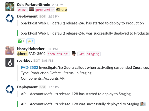 continuous integration slack screenshot