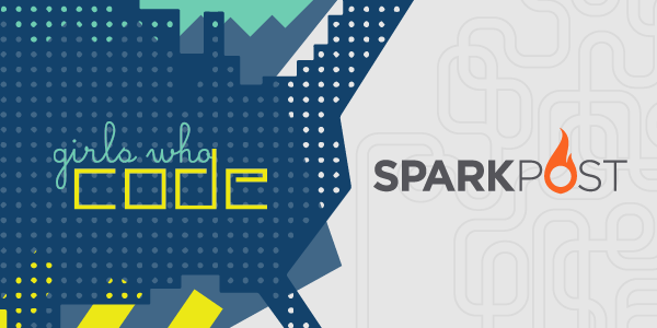 girls who code sparkpost logo mashup