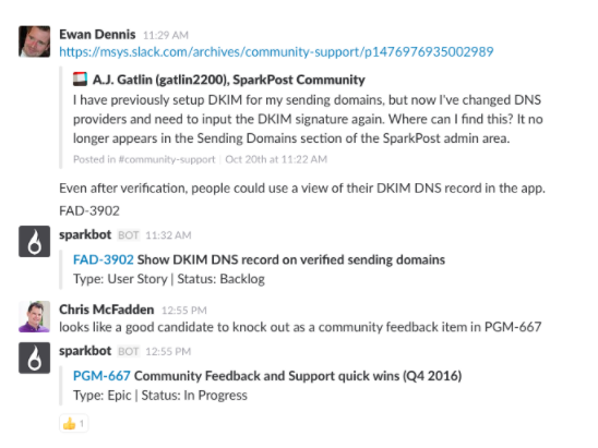 community driven development slack screengrab
