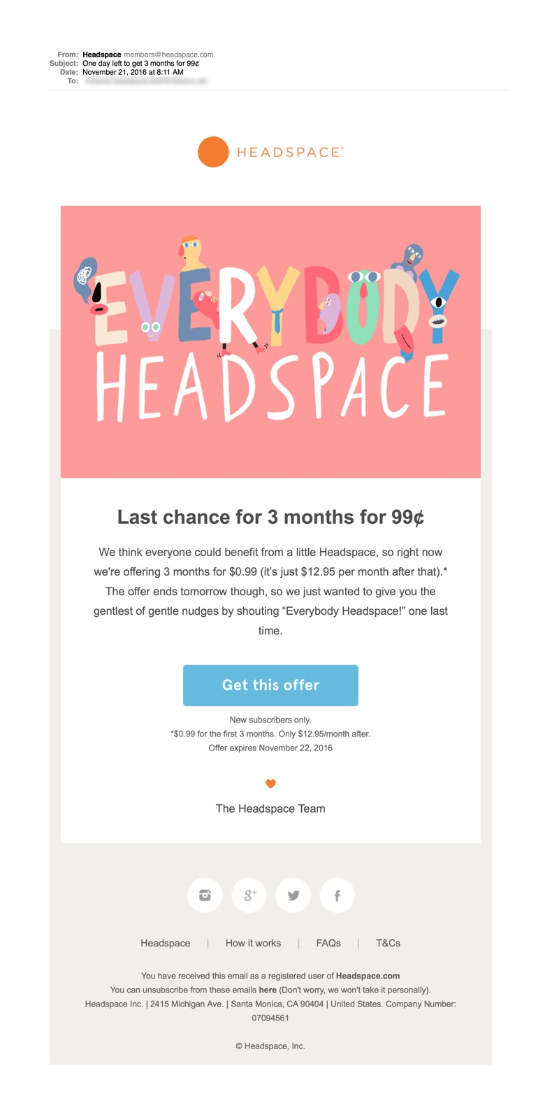 Time-Sensitive Email: Headspace Subscription Last Chance