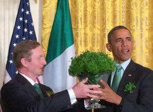 Irish leader US president bowl shamrocks St. Patrick's Day