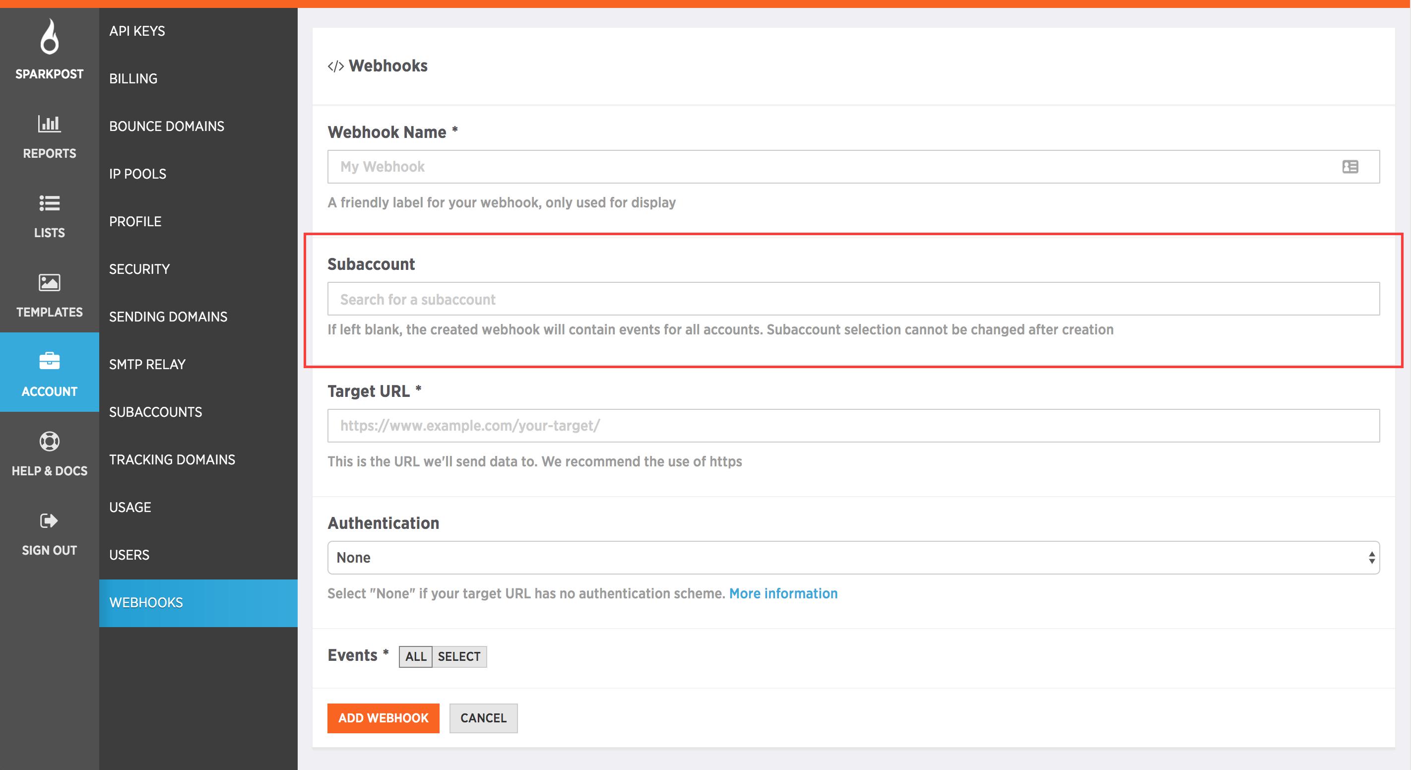 subaccount management for webhooks screenshot