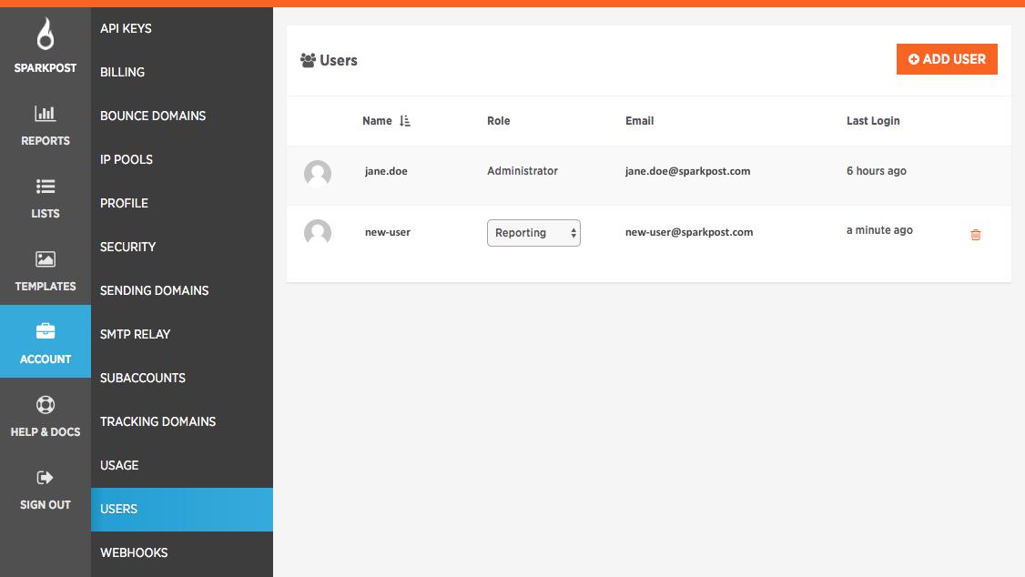 user management - add user screen