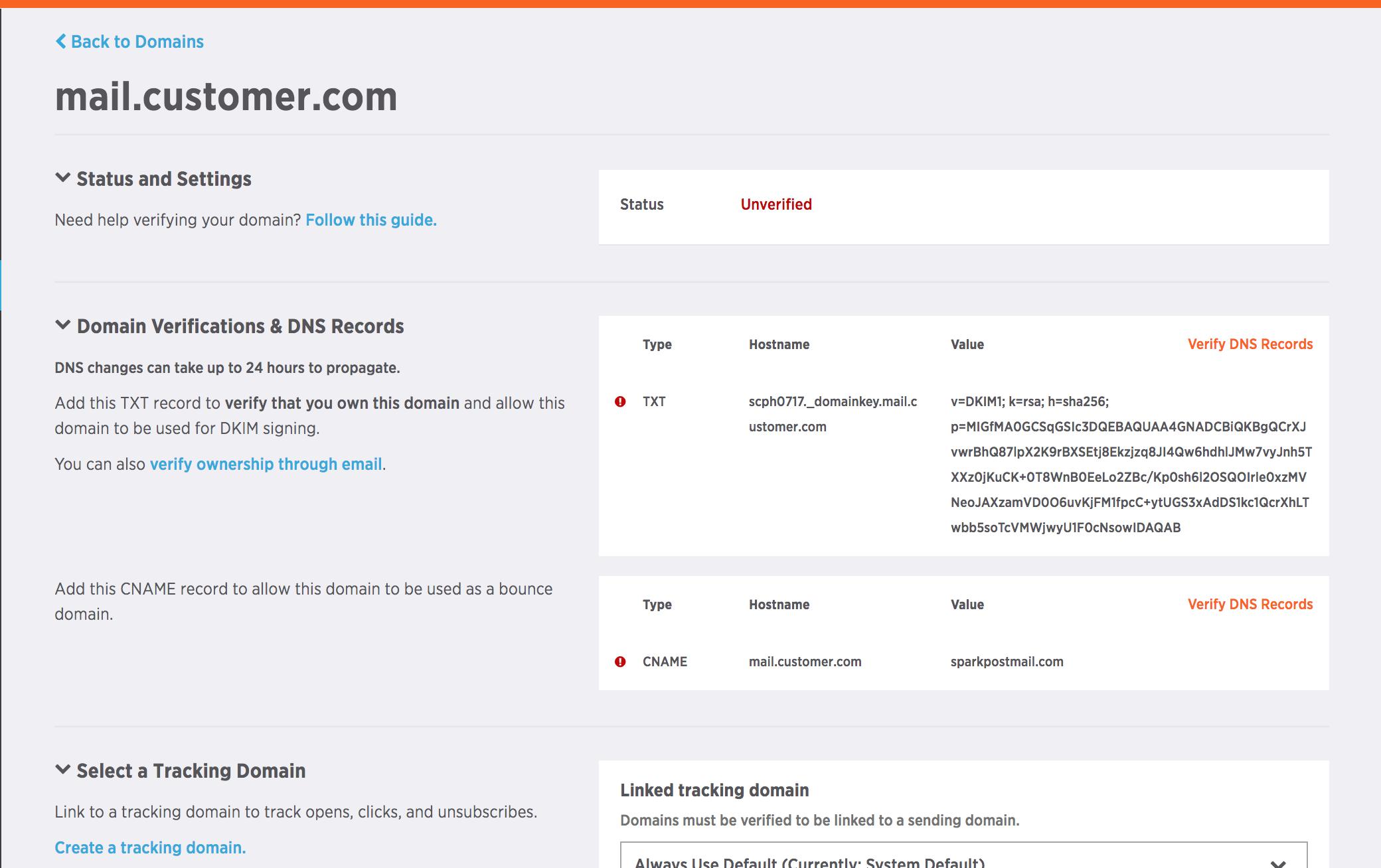 Editing domain settings