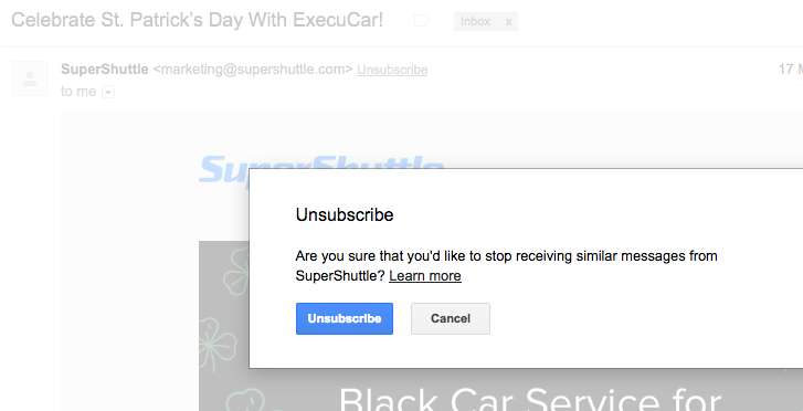 unsubscriber email supershuttle