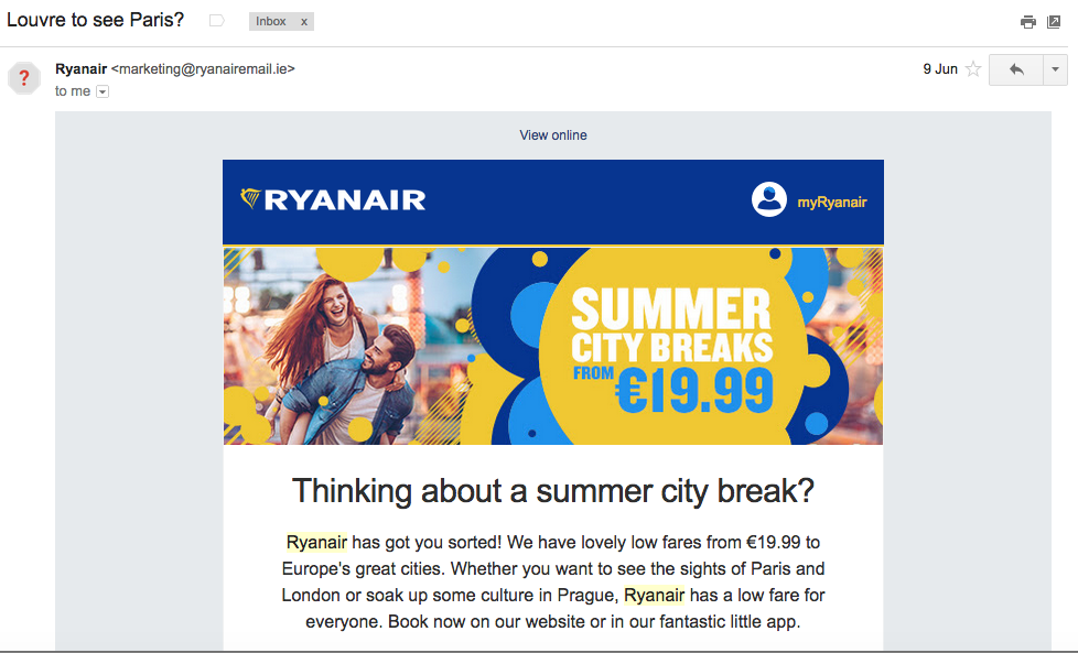 ryanair summer email campaign