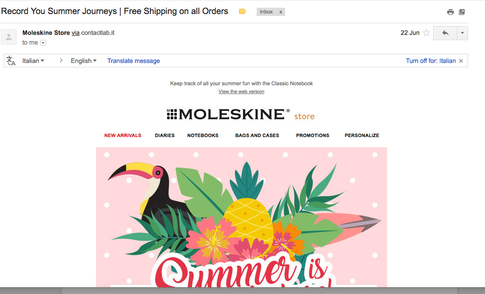 moleskine summer email campaign
