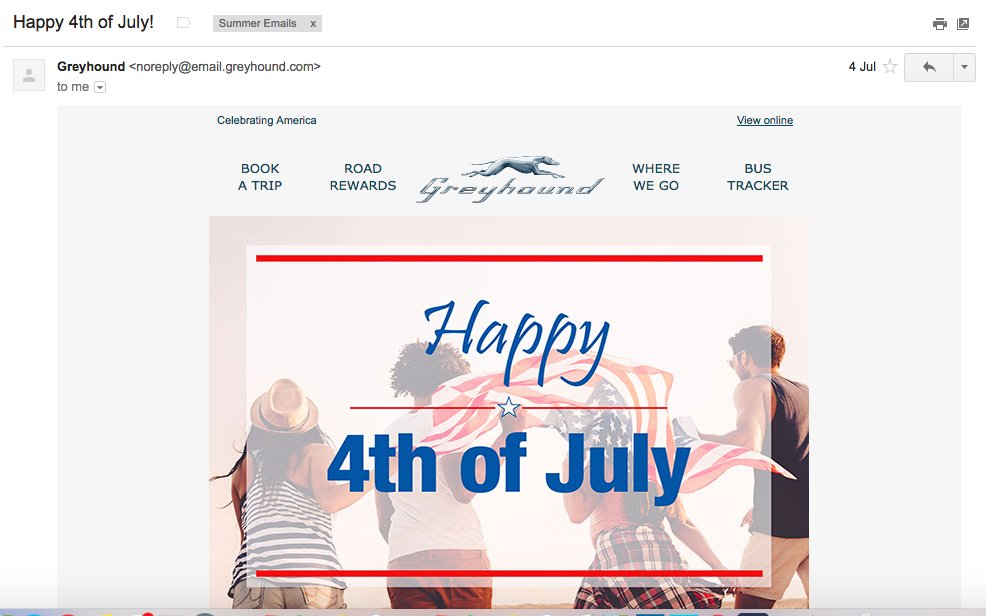greyhound july 4th summer email campaigns