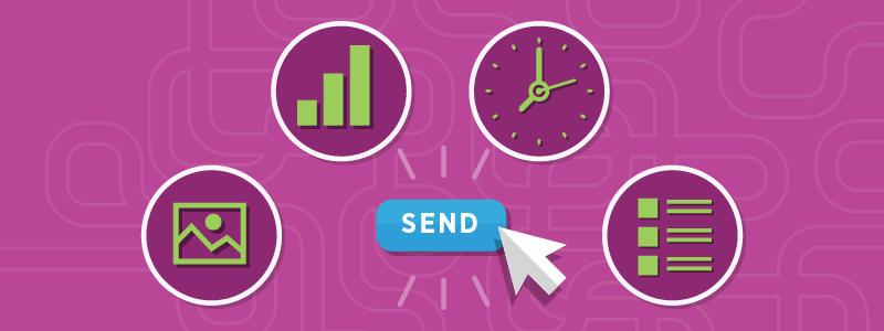 pink background press send email campaign checklist