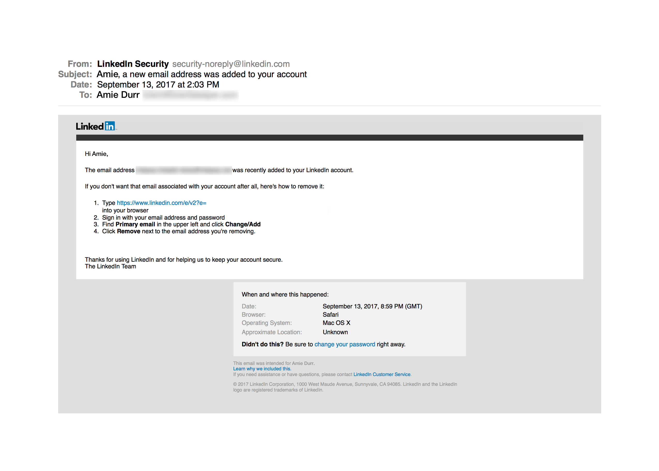 LinkedIn Account Change Product Email