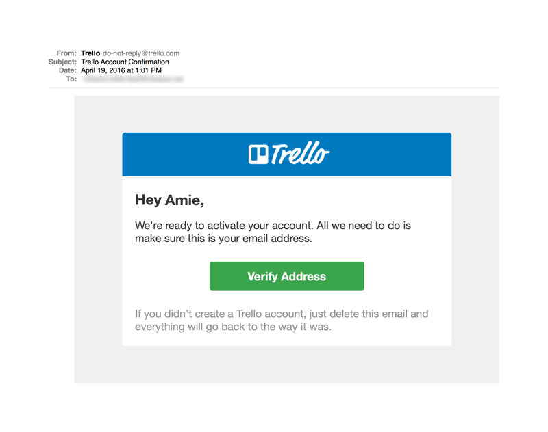 Trello Account Confirmation Product Email