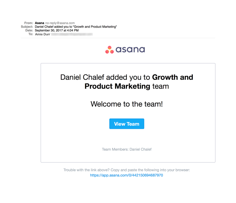 Asana Invitation Product Email