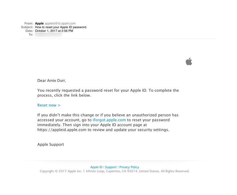 Apple ID Password Reset Product Email