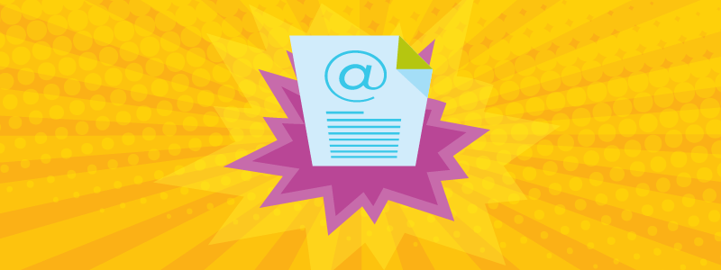 transactional email engagement yellow background purple pop art white email page 800x300