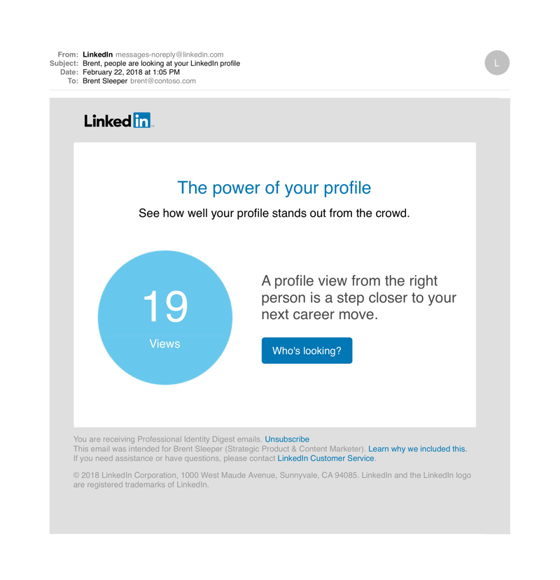 Example LinkedIn Notification