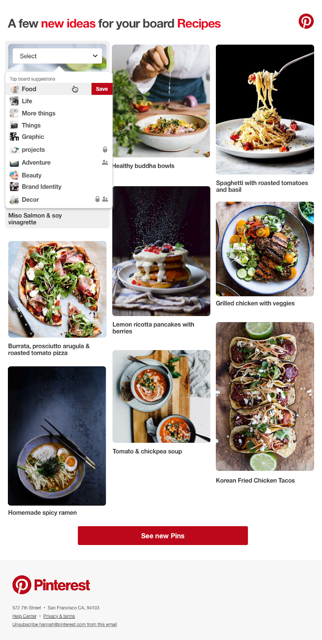 AMP for Email example Pinterest