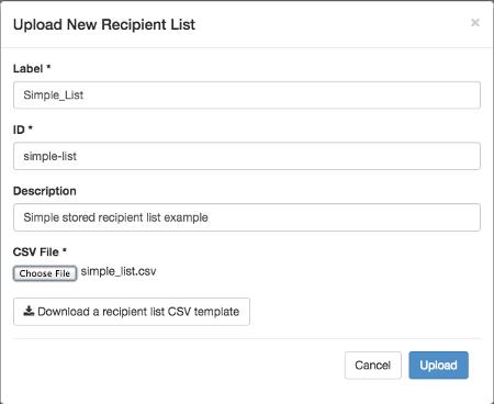 Example Recipient List Details