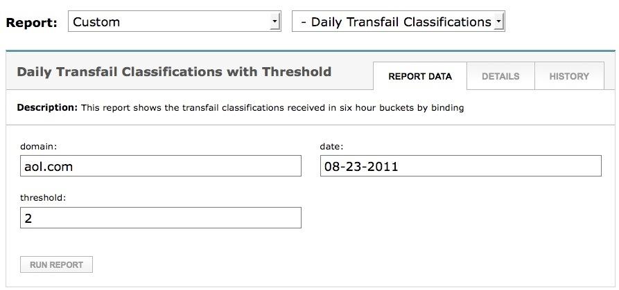 Report data tab